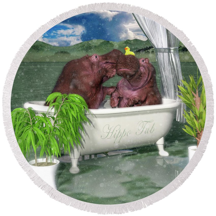 Hippo Round Beach Towel featuring the digital art The Hippo Tub by Betsy Knapp