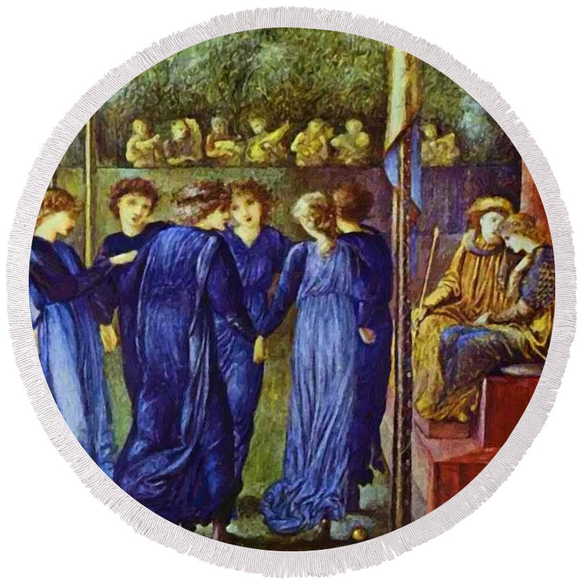 The Round Beach Towel featuring the painting The King Wedding 1870 by BurneJones Edward