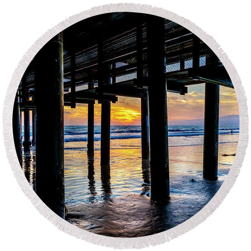 Under The Pier Round Beach Towel featuring the photograph The Light Downunder by Gene Parks