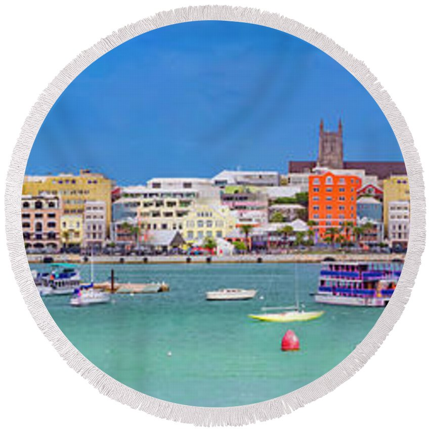 Bermuda Round Beach Towel featuring the photograph The Long Town by Betsy Knapp