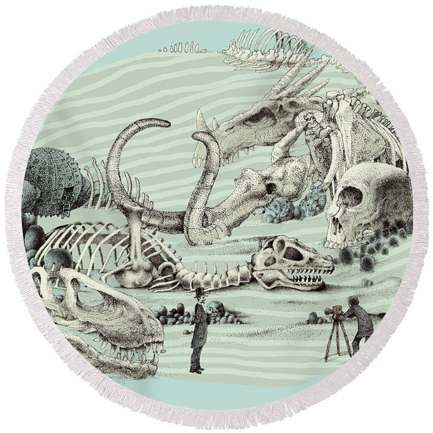 Vintage Round Beach Towel featuring the drawing The Lost Beach by Eric Fan