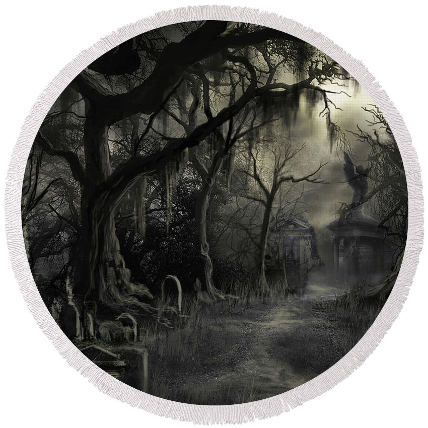 Cemetery Round Beach Towel featuring the painting The Lost Cemetery by James Christopher Hill