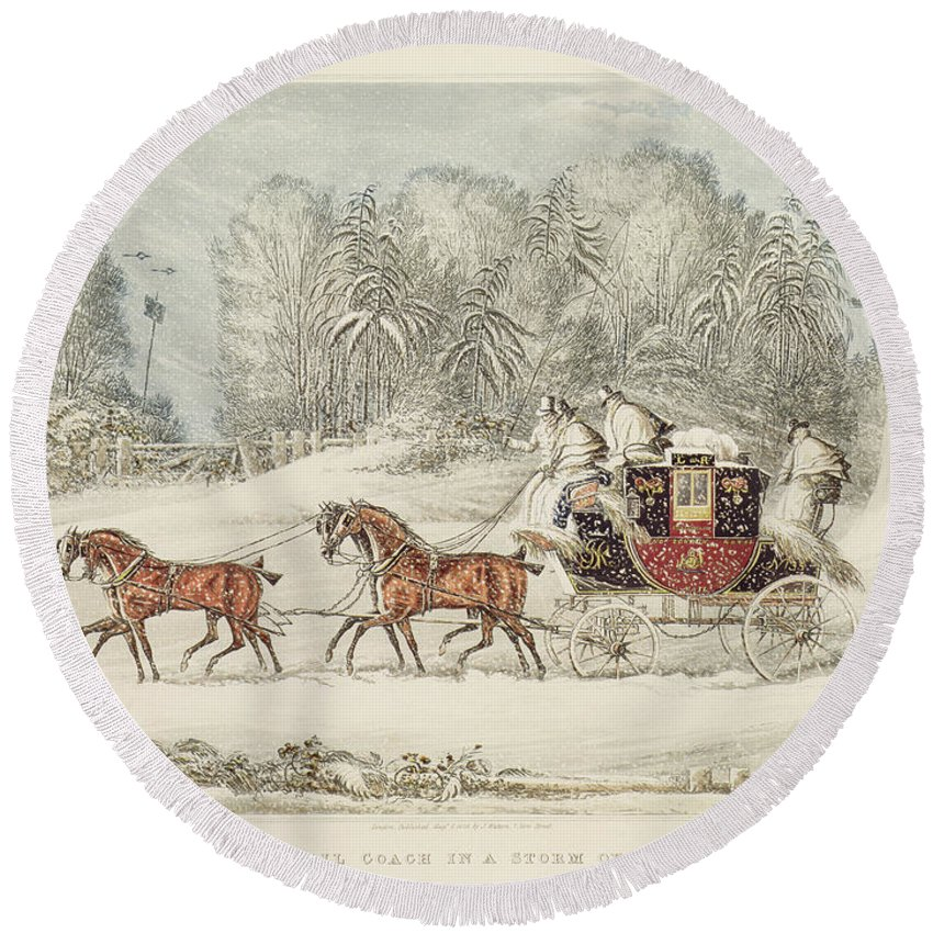 The Mail Coach In A Storm Of Snow Round Beach Towel featuring the painting The Mail Coach In A Storm Of Snow 1825 by James Pollard
