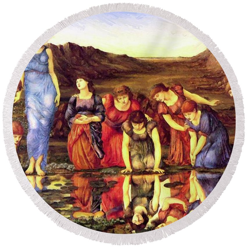 The Round Beach Towel featuring the painting The Mirror Of Venus 1875 by BurneJones Edward