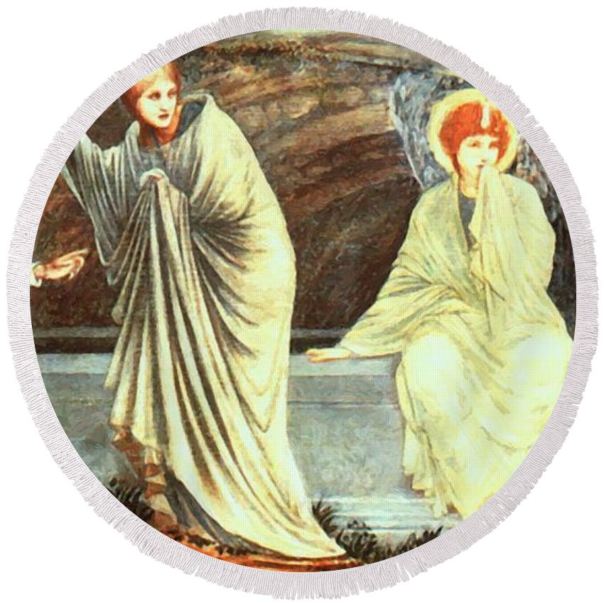 The Round Beach Towel featuring the painting The Morning Of The Resurrection 1882 by BurneJones Edward