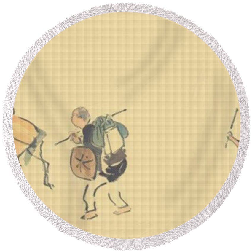 The Round Beach Towel featuring the painting The Narrow Road To The Deep North 2 by Buson Yosa