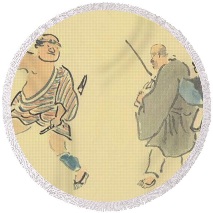 The Round Beach Towel featuring the painting The Narrow Road To The Deep North by Buson Yosa