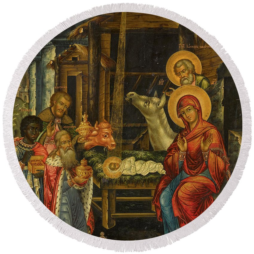 The Nativity Round Beach Towel featuring the painting The Nativity, Russia, 1848 by Russian Art