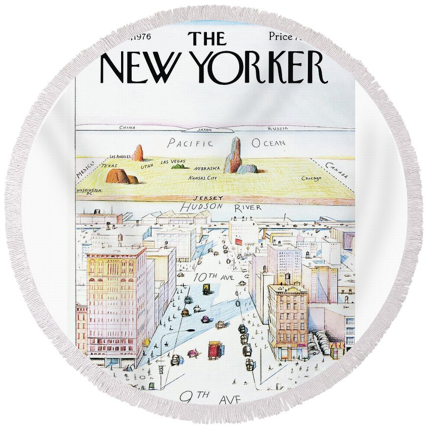 The New Yorker Round Beach Towel featuring the painting The New Yorker - March 29, 1976 by Saul Steinberg