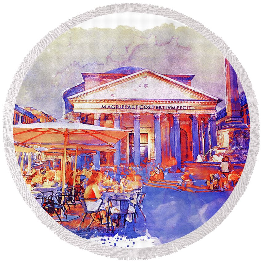 The Pantheon Round Beach Towel featuring the painting The Pantheon Rome Watercolor Streetscape by Marian Voicu