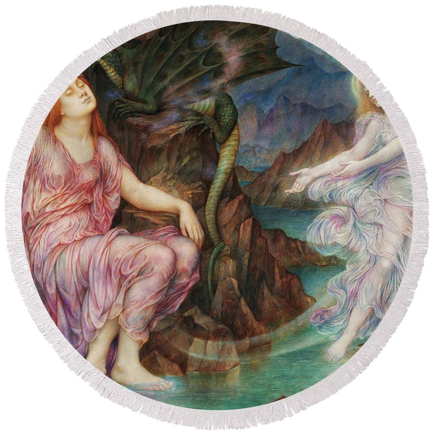 Evelyn De Morgan Round Beach Towel featuring the painting The Passing Of The Soul At Death, 1919 by Evelyn De Morgan