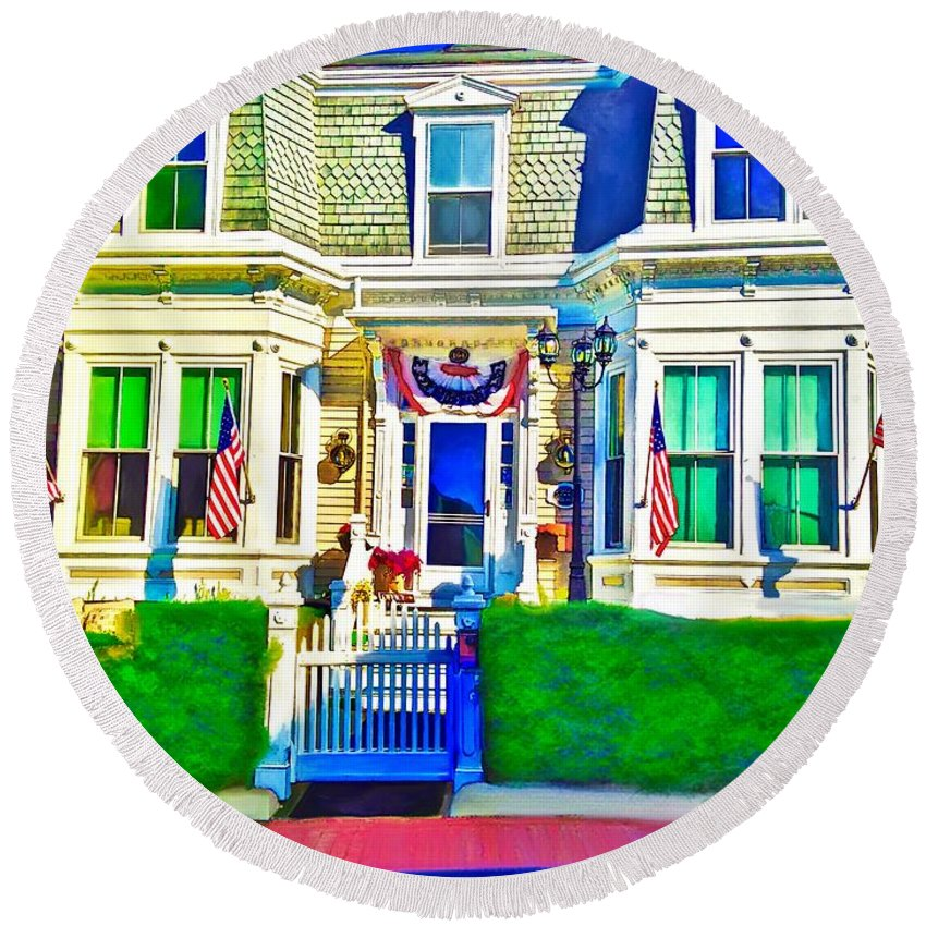 The Prince Albert Guesthouse Provincetown Massachusetts Round Beach Towel featuring the digital art The Prince Albert Guesthouse-provincetown, Massachusetts by Laurie Cairone