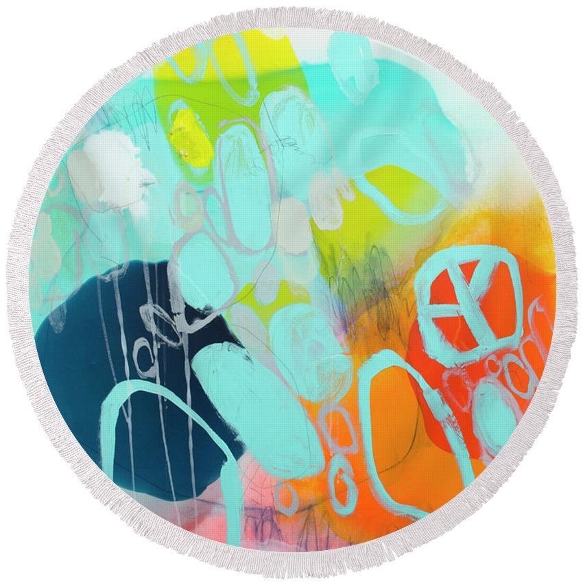 Abstract Round Beach Towel featuring the painting The Right Thing by Claire Desjardins