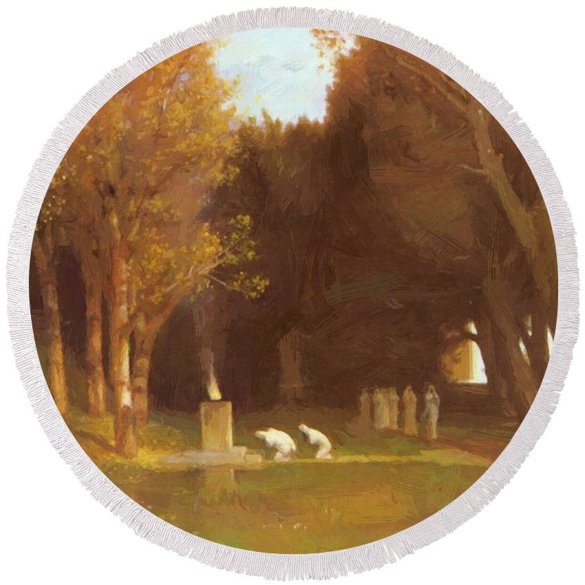 The Round Beach Towel featuring the painting The Sacred Grove 1886 by Bocklin Arnold