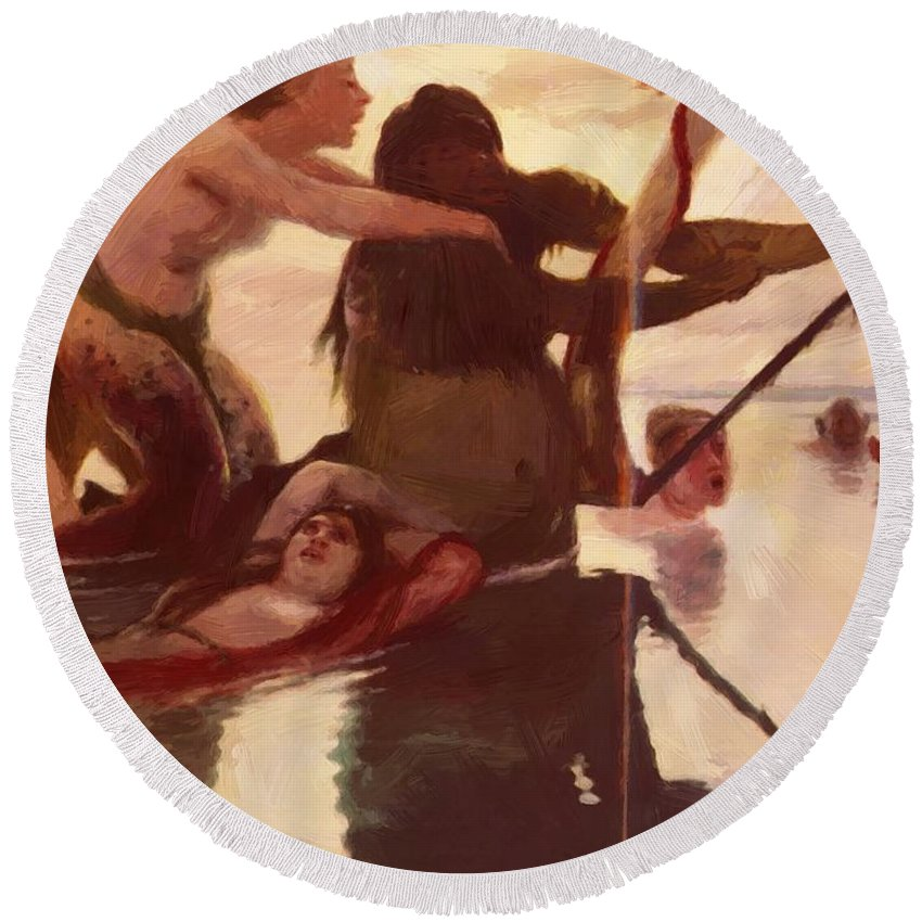 The Round Beach Towel featuring the painting The Sea by Bocklin Arnold