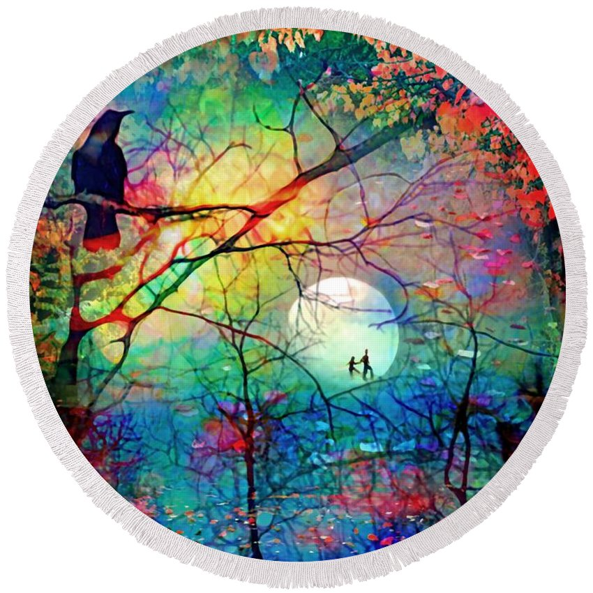 Tree Round Beach Towel featuring the digital art The Secret Path Of Night by Tara Turner