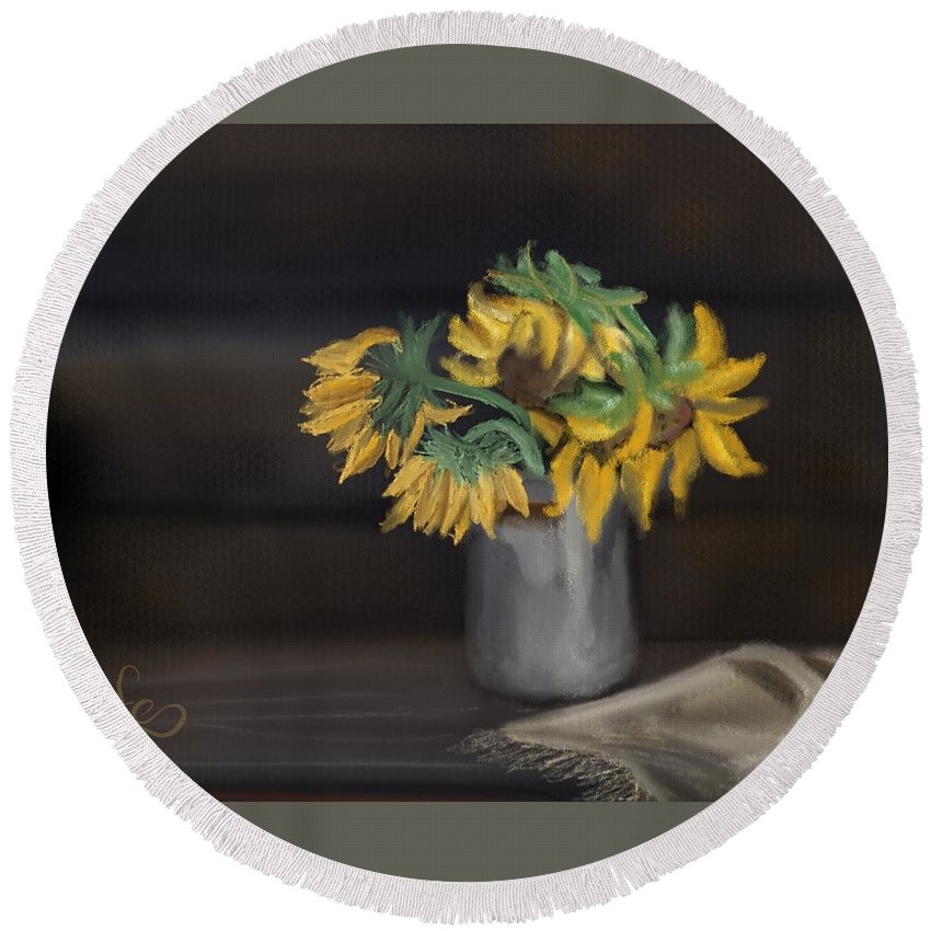 Round Beach Towel featuring the painting The Sun Flowers by Fe Jones