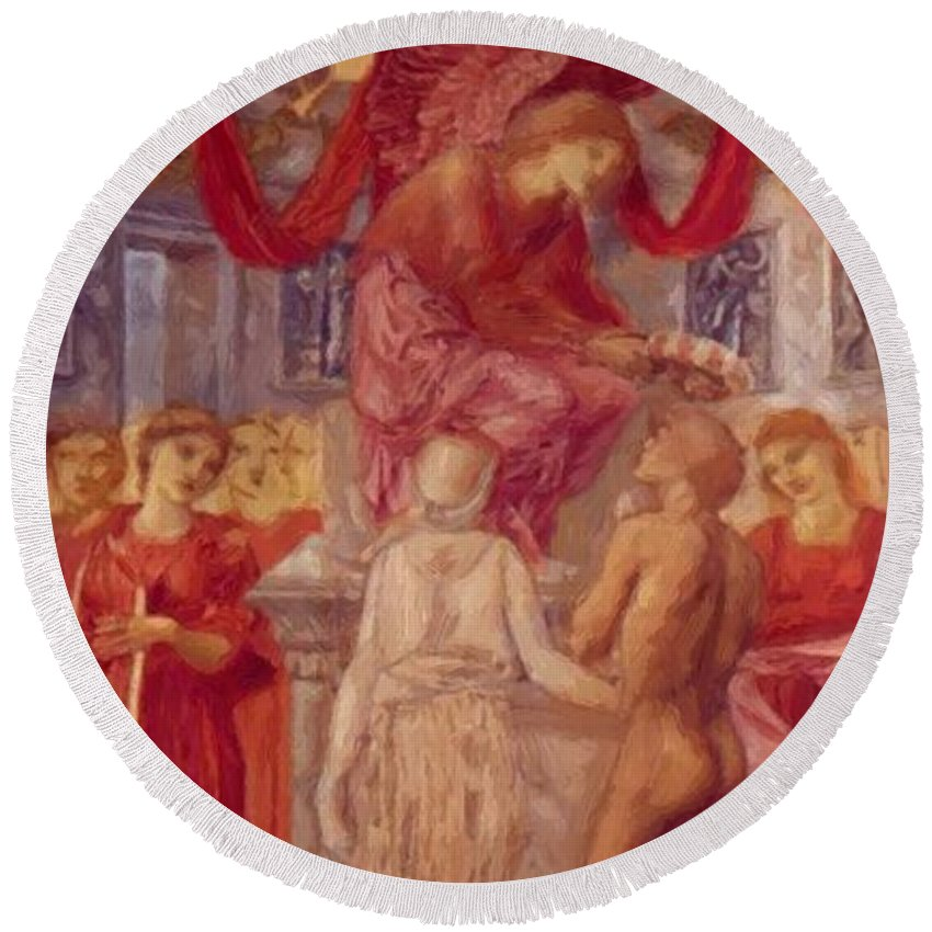 The Round Beach Towel featuring the painting The Temple Of Love by BurneJones Edward
