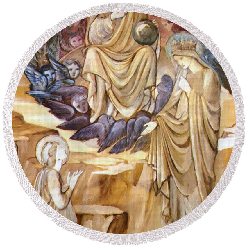 The Round Beach Towel featuring the painting The Vision Of Saint Catherine by BurneJones Edward