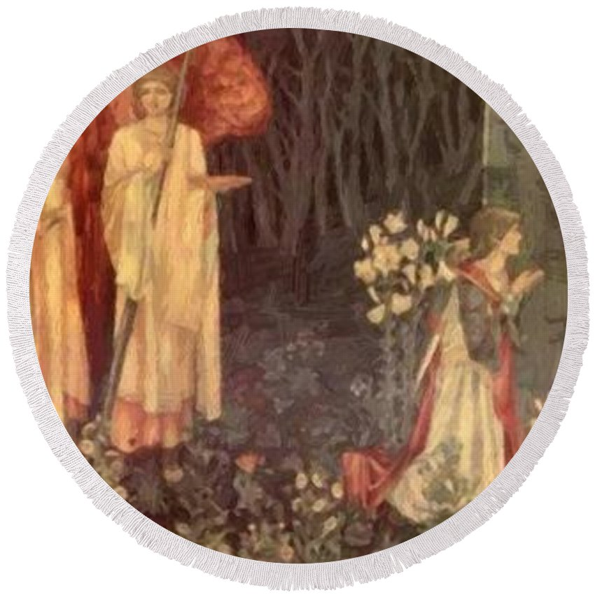 The Round Beach Towel featuring the painting The Vision Of The Holy Grail To Sir Galahad Sir Bors And Sir Perceval by BurneJones Edward