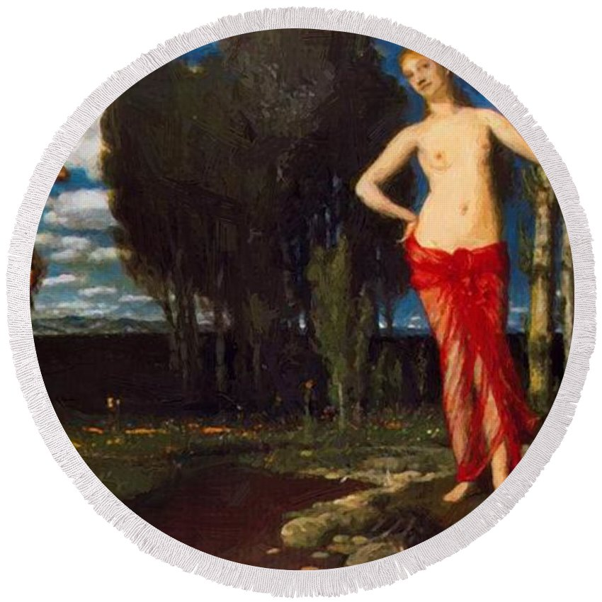 The Round Beach Towel featuring the painting The Wake Up Spring by Bocklin Arnold
