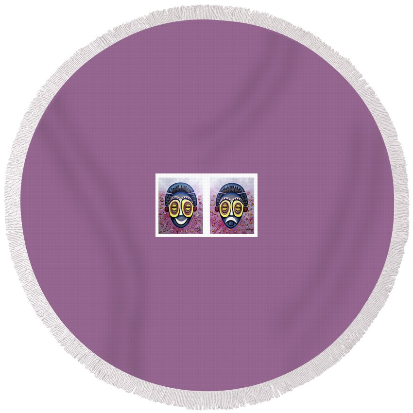 Round Beach Towel featuring the painting Thearter Of Africa by Manonce Artist