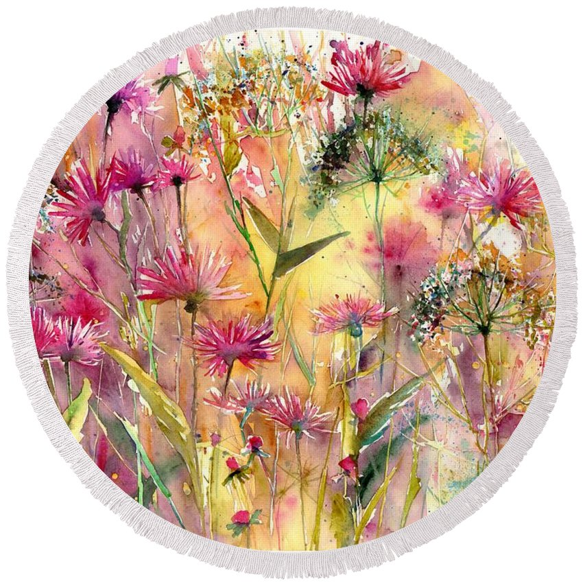 Pink Round Beach Towel featuring the painting Thistles Impression by Suzann Sines