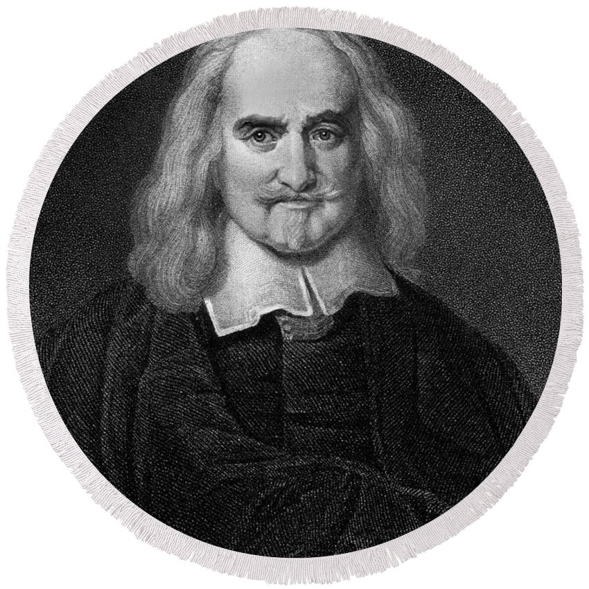 Historical Round Beach Towel featuring the drawing Thomas Hobbes English Philosopher, Engraving by European School