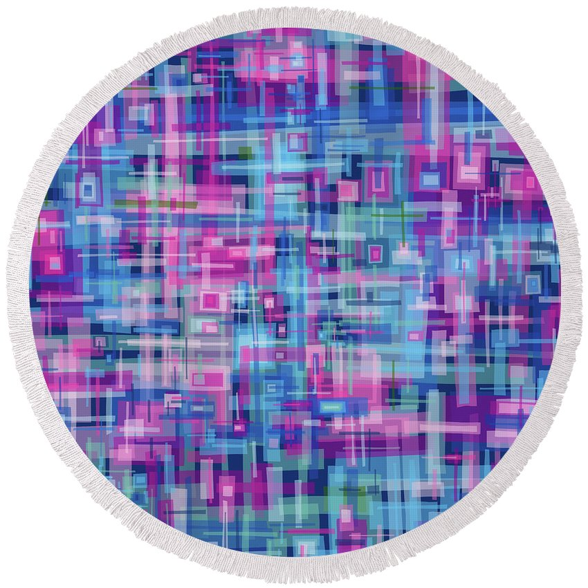 Nonobjective Round Beach Towel featuring the digital art Thought Patterns #4 by James Fryer