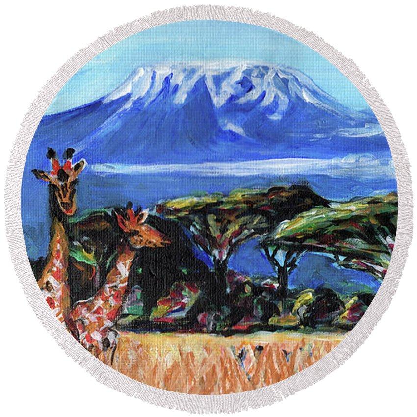Everett Spruill Round Beach Towel featuring the painting Three Giraffes by Everett Spruill