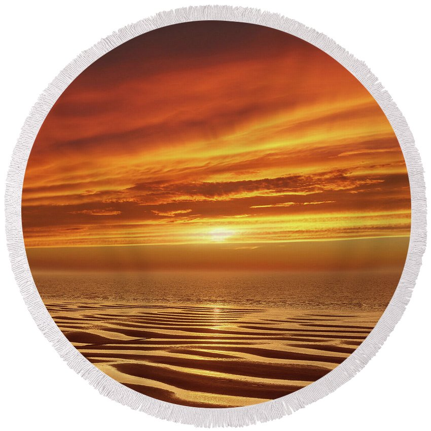 Sunset Round Beach Towel featuring the mixed media Tideland by Jacky Gerritsen