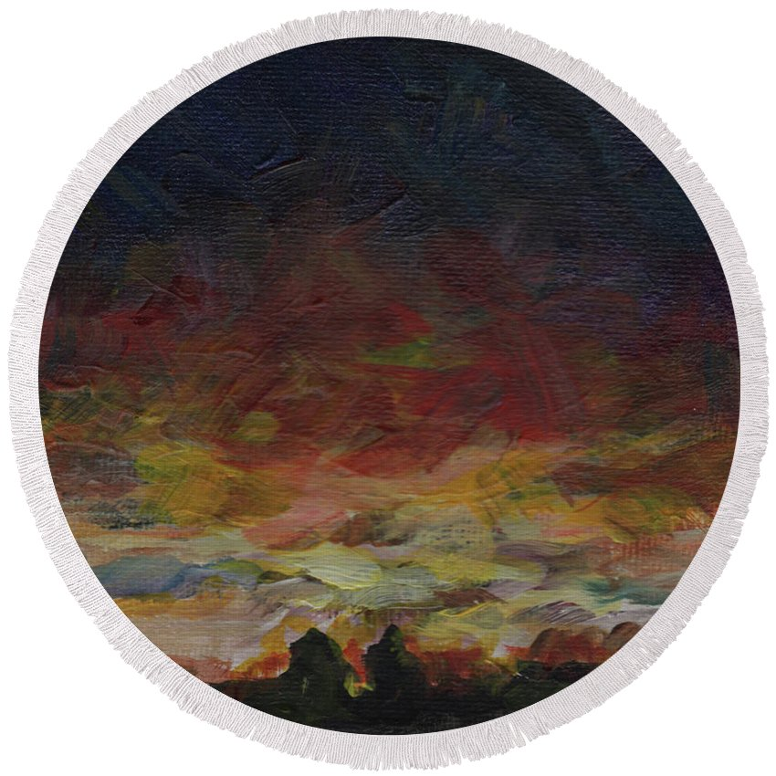 Sunset Round Beach Towel featuring the painting Tiny Sunset by Susan Moore