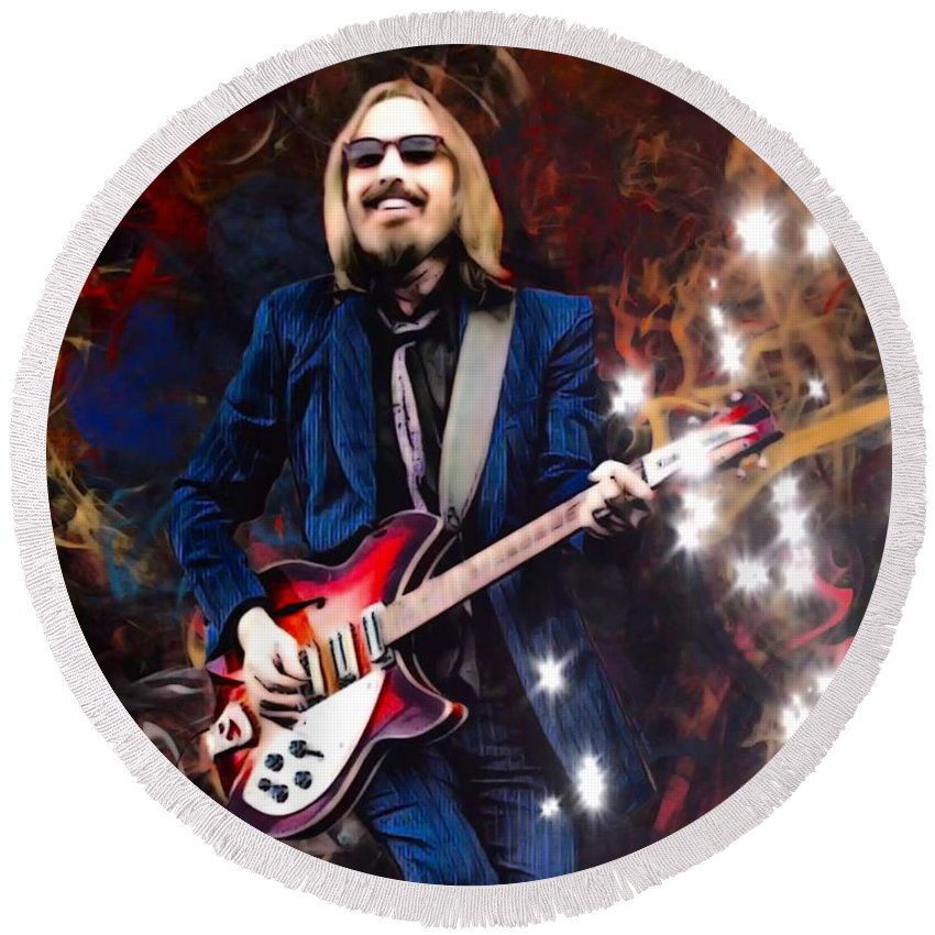 Tom Petty Round Beach Towel featuring the digital art Tom Petty Portrait by Scott Wallace Digital Designs