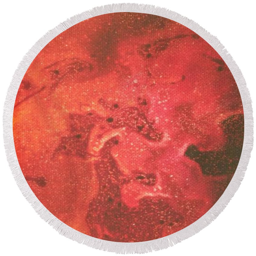 Acrylic Round Beach Towel featuring the photograph Tongues Of Fire by Paola Baroni