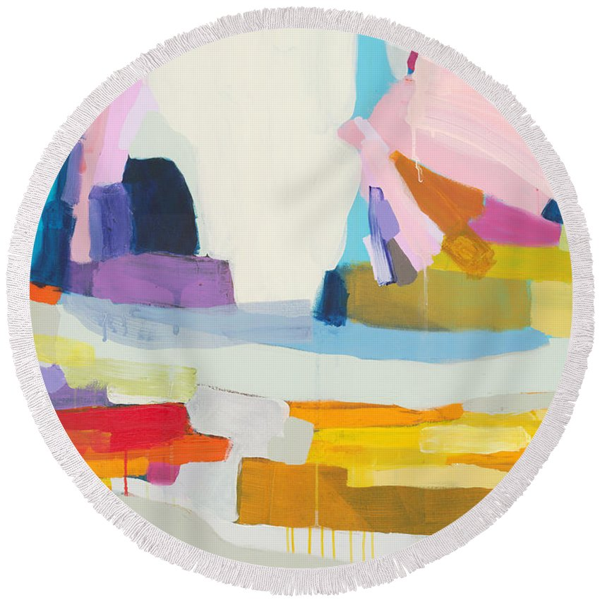 Abstract Round Beach Towel featuring the painting Towards The Ocean by Claire Desjardins