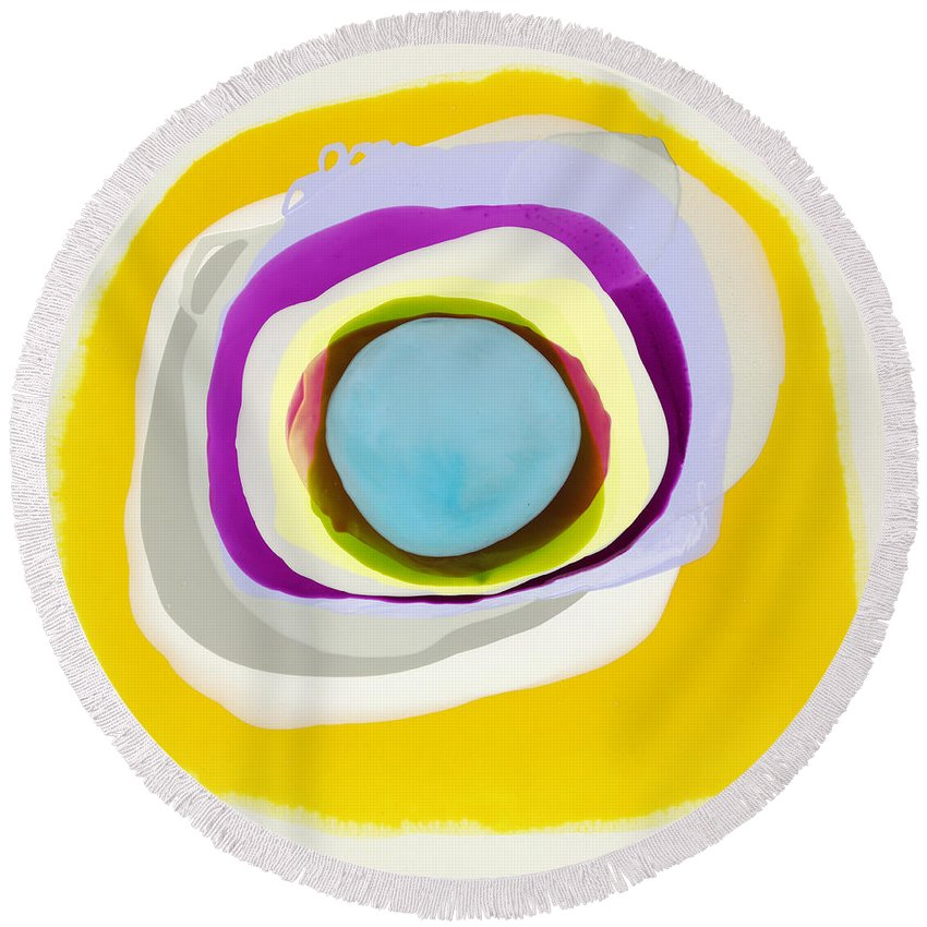 Abstract Round Beach Towel featuring the photograph Tranquil by Claire Desjardins