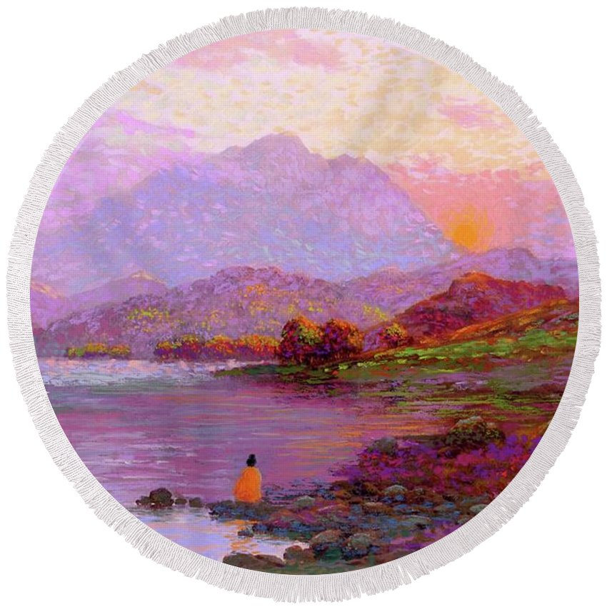 Sun Round Beach Towel featuring the painting Tranquil Mind by Jane Small