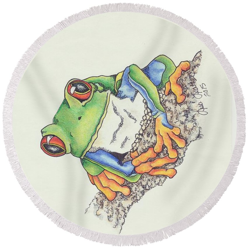 Tree Frog Round Beach Towel featuring the mixed media Transitions by Lisa Johnson
