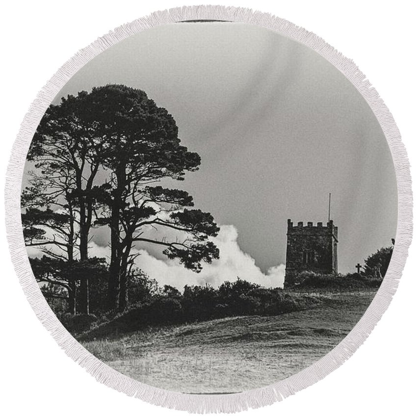 Tree Round Beach Towel featuring the photograph Tree And Tower by Andrew Wilson