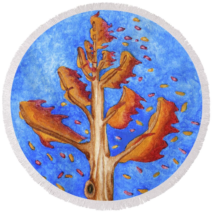 Nature Round Beach Towel featuring the painting Tree in Autumn Wind I by Robert Morin