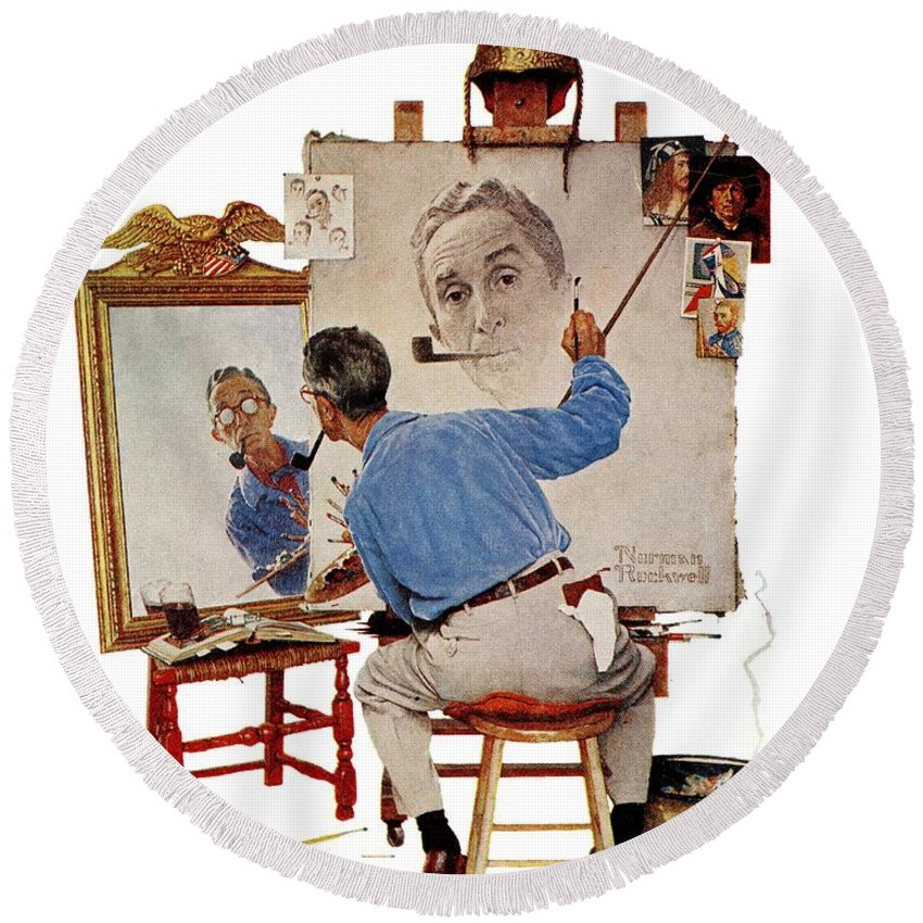 Artists Round Beach Towel featuring the drawing Triple Self-portrait by Norman Rockwell