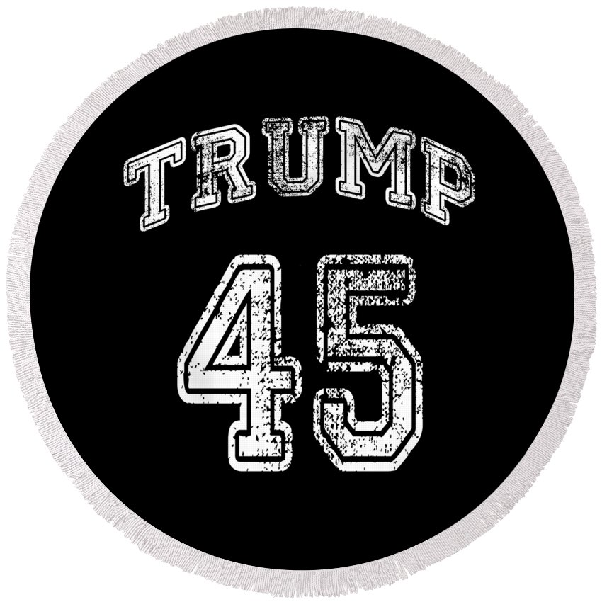 Cool Round Beach Towel featuring the digital art Trump 45 by Flippin Sweet Gear