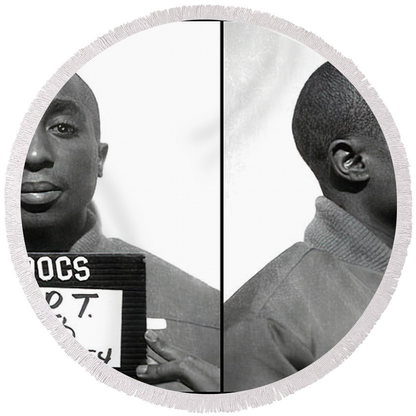 Tupac Round Beach Towel featuring the photograph Tupac Shakur Mugshot 1995 by Daniel Hagerman