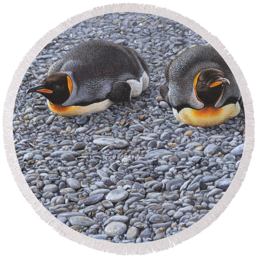 Alan M Hunt Round Beach Towel featuring the painting Two King Penguins By Alan M Hunt by Alan M Hunt