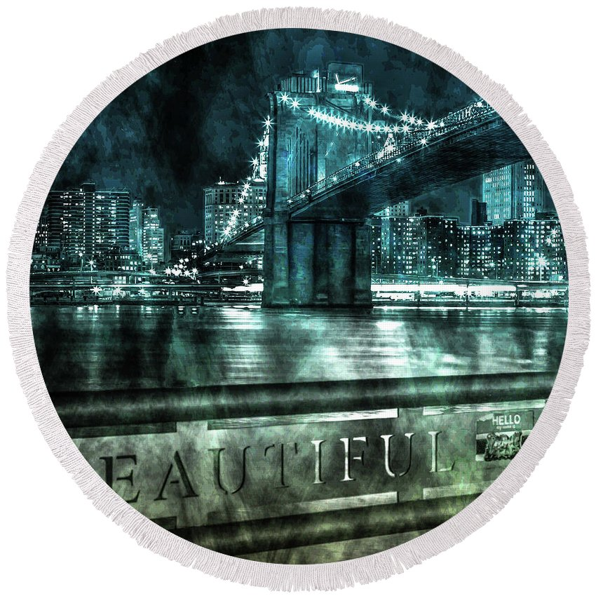 American Round Beach Towel featuring the photograph Urban Grunge Collection Set - 05 by Az Jackson