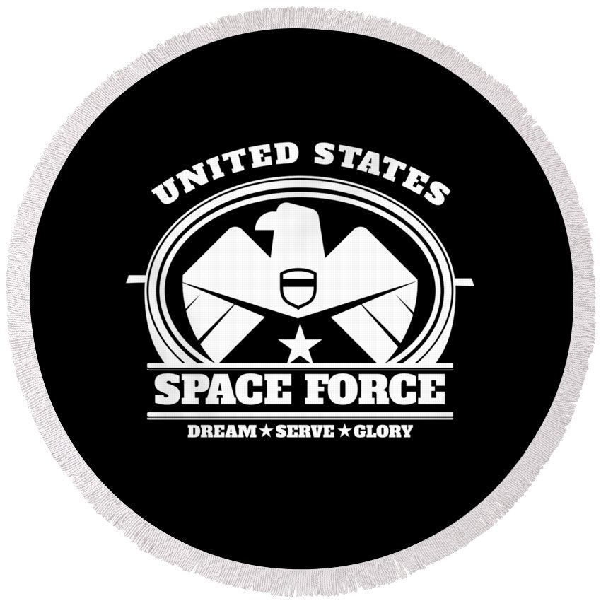 Space-force Round Beach Towel featuring the digital art Us Space Force Art Military Branch Bald Eagle Dark by Nikita Goel