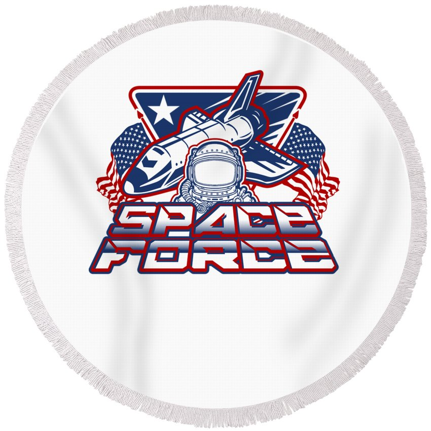 Space-force Round Beach Towel featuring the digital art Us Space Force Art Spaceship Us Flag Astronaut Light by Nikita Goel