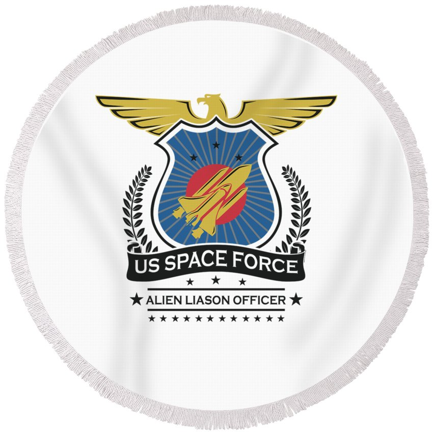 Space-force Round Beach Towel featuring the digital art Us Space Force Crew Member Art Alien Liason Officer Light by Nikita Goel