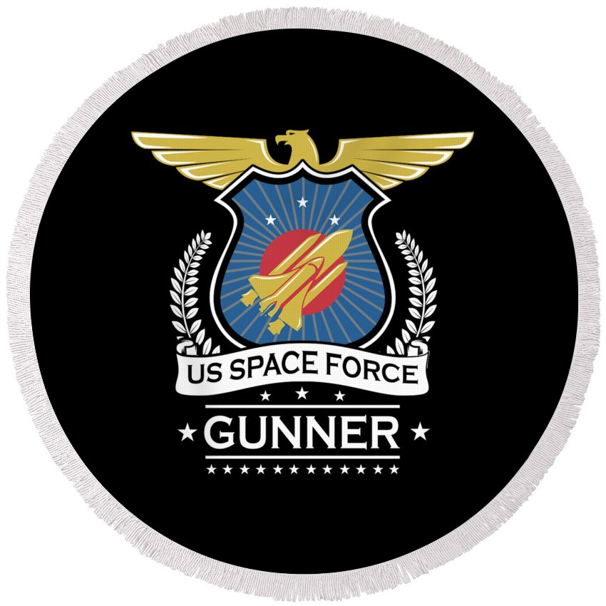 Space-force Round Beach Towel featuring the digital art Us Space Force Crew Member Art For Spaceship Gunner Dark by Nikita Goel