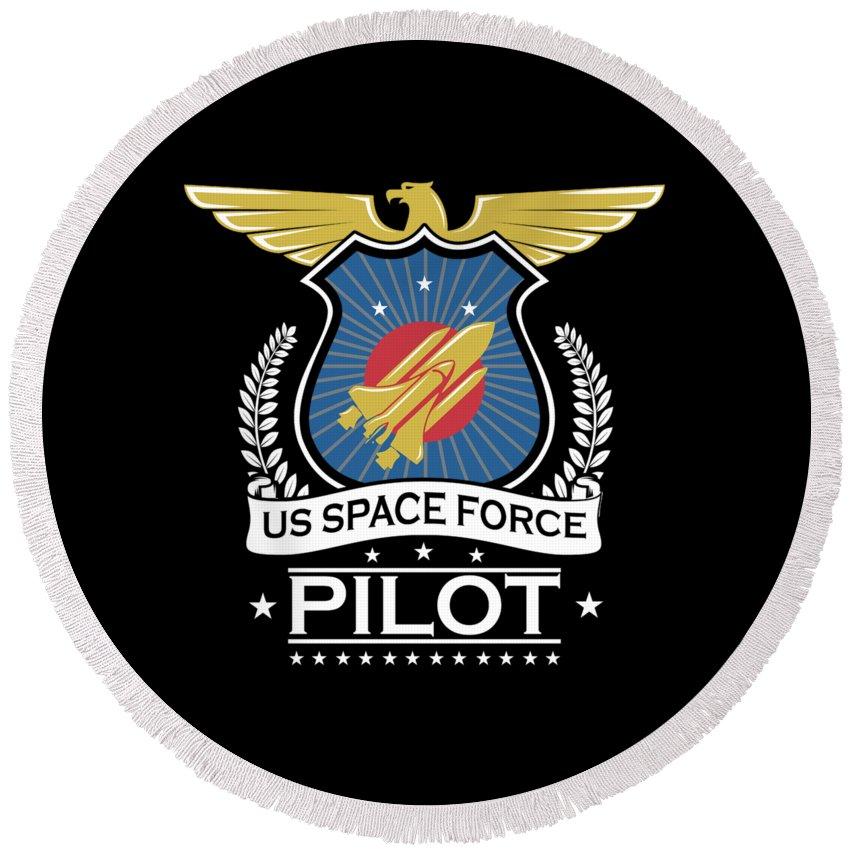 Space-force Round Beach Towel featuring the digital art Us Space Force Crew Member Art For Spaceship Pilot Dark by Nikita Goel